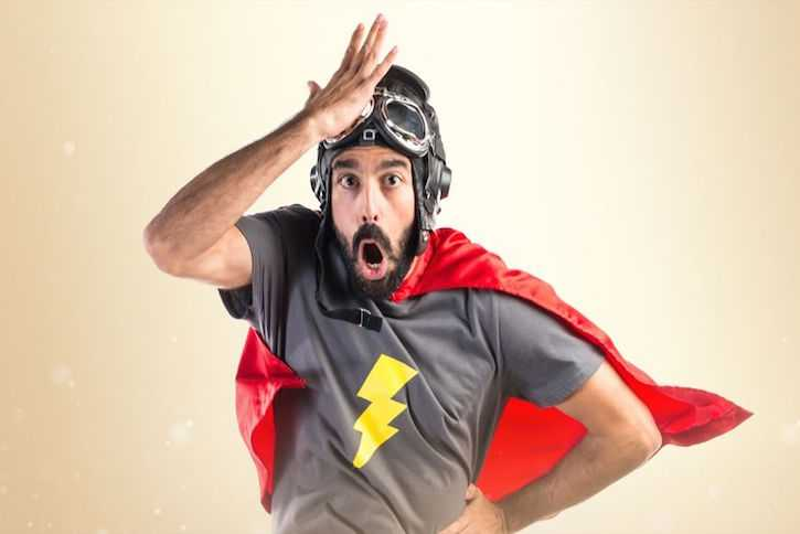 A man wearing a super hero outfit representing the chiropractors at TruSpine in San Francisco, CA